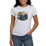 St Francis #2/ Pomeranian (s&w) Women's T-Shirt