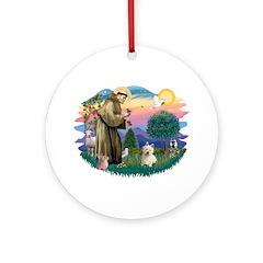 St Francis #2/ Westie #1 Ornament (Round)