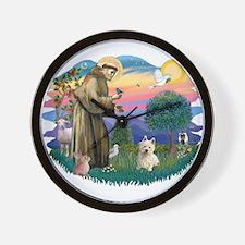 St Francis #2/ Westie #1 Wall Clock
