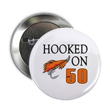 "50th Birthday Fisherman 2.25"" Button (100 pack)"