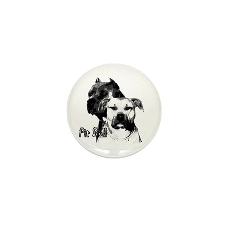 two heads pit bull design Mini Button