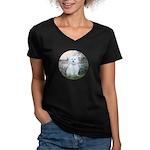 By the Seine/ Women's V-Neck Dark T-Shirt