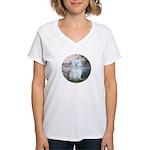 By the Seine/ Women's V-Neck T-Shirt