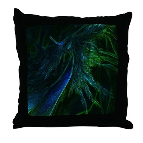 Peacock Blue Throw Pillow : Peacock Blue Feather Pretty Pillows Throw Pillow by thedezineshop