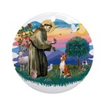 St Francis #2/ Basenji Ornament (Round)