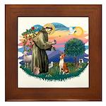 St Francis #2/ Basenji Framed Tile