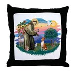 St Francis #2/ Basenji Throw Pillow