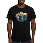 St Francis #2/ Basenji Men's Fitted T-Shirt (dark)