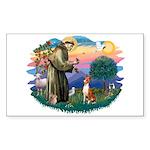 St Francis #2/ Basenji Sticker (Rectangle 10 pk)