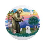 St Francis #2/ Bichon #1 Ornament (Round)