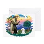 St Francis #2/ Bichon #1 Greeting Cards (Pk of 20)
