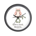 Give A Hoot Recycle Wall Clock