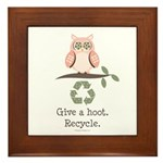Give A Hoot Recycle Framed Tile