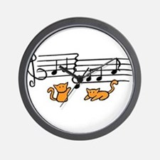 Orange Kitty Notes Wall Clock