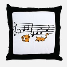 Orange Kitty Notes Throw Pillow