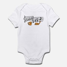 Orange Kitty Notes Infant Bodysuit