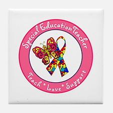 Cute Teacher special education Tile Coaster