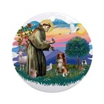 St Francis #2/ Aus Shep (red) Ornament (Round)