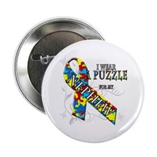 "I Wear A Puzzle for my Nephew 2.25"" Button"