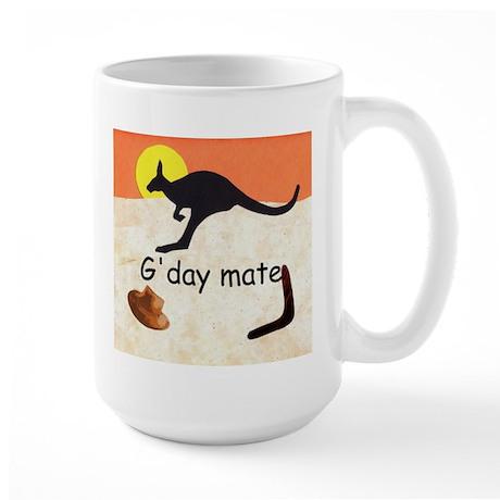 Kangaroo with Aussie saying Large Mug