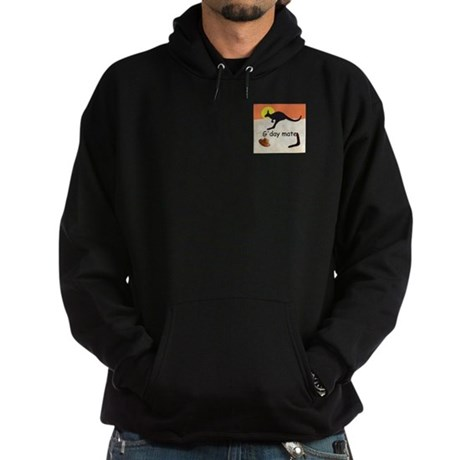 Kangaroo with Aussie saying Hoodie (dark)