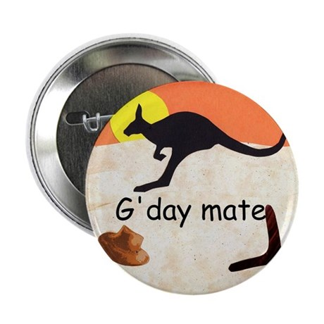 "Kangaroo with Aussie saying 2.25"" Button (10"