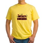 Wesley Crushers Yellow T-Shirt - Be a part of the best bowling team for geeks - The Wesley Crushers! This merchandise will make a bang with your friends. A big one. In theory. - Availble Sizes:Small,Medium,Large,X-Large,2X-Large (+$3.00) - Availble Colors: Yellow