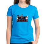 Wesley Crushers Women's Dark T-Shirt - Be a part of the best bowling team for geeks - The Wesley Crushers! This merchandise will make a bang with your friends. A big one. In theory. - Availble Sizes:Small,Medium,Large,X-Large,2X-Large (+$3.00) - Availble Colors: Black,Red,Caribbean Blue,Pink,Charcoal Heather,Kelly,Pink Camo,Navy
