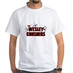 Wesley Crushers White T-Shirt - Be a part of the best bowling team for geeks - The Wesley Crushers! This merchandise will make a bang with your friends. A big one. In theory. - Availble Sizes:Small,Medium,Large,X-Large,X-Large Tall (+$3.00),2X-Large (+$3.00),2X-Large Tall (+$3.00),3X-Large (+$3.00),3X-Large Tall (+$3.00),4X-Large (+$3.00) - Availble Colors: White