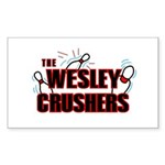 Wesley Crushers Sticker (Rectangle 10 pk) - Be a part of the best bowling team for geeks - The Wesley Crushers! This merchandise will make a bang with your friends. A big one. In theory. - Availble Colors: White,Clear