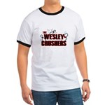 Wesley Crushers Ringer T - Be a part of the best bowling team for geeks - The Wesley Crushers! This merchandise will make a bang with your friends. A big one. In theory. - Availble Sizes:Small,Medium,Large,X-Large,2X-Large (+$3.00) - Availble Colors: Black/White,Red/White,Navy/White