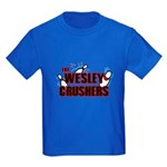 Wesley Crushers Kids Dark T-Shirt - Be a part of the best bowling team for geeks - The Wesley Crushers! This merchandise will make a bang with your friends. A big one. In theory. - Availble Sizes:Kids X-Small,Kids Small,Kids Medium,Kids Large,Kids X-Large - Availble Colors: Black,Navy,Royal,Red,Purple