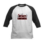 Wesley Crushers Kids Baseball Jersey - Be a part of the best bowling team for geeks - The Wesley Crushers! This merchandise will make a bang with your friends. A big one. In theory. - Availble Sizes:S (6-8),M (10-12),L (14-16) - Availble Colors: Black/White,Red/White,Navy/White