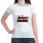 Wesley Crushers Jr. Ringer T-Shirt - Be a part of the best bowling team for geeks - The Wesley Crushers! This merchandise will make a bang with your friends. A big one. In theory. - Availble Sizes:Small,Medium,Large,X-Large - Availble Colors: Pink/Salmon,Mint/Avocado,Navy/White