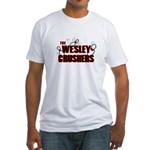 Wesley Crushers Fitted T-Shirt - Be a part of the best bowling team for geeks - The Wesley Crushers! This merchandise will make a bang with your friends. A big one. In theory. - Availble Sizes:Small,Medium,Large,X-Large,2X-Large (+$3.00) - Availble Colors: White,Natural,Pink,Baby Blue,Sunshine