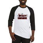 Wesley Crushers Baseball Jersey - Be a part of the best bowling team for geeks - The Wesley Crushers! This merchandise will make a bang with your friends. A big one. In theory. - Availble Sizes:Small,Medium,Large,X-Large,2X-Large (+$3.00) - Availble Colors: Black/White,Red/White,Blue/White