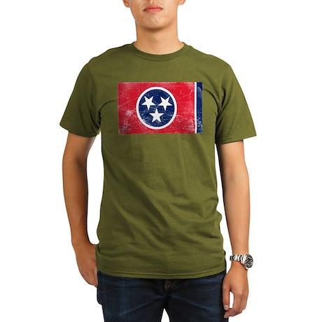 Vintage TN State Flag Organic Men's T-Shirt (dark)