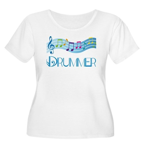 Colorful Music Drummer Women's Plus Size Scoop Nec