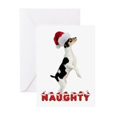 Naughty Toy Fox Terrier Greeting Card