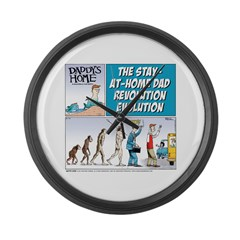 Stay-at-Home Dad Evolution Large Wall Clock