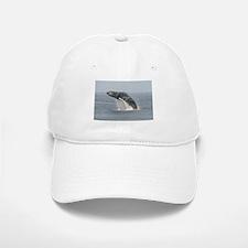 White Baseball Baseball Cap-Whale (Humpback)
