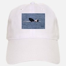 White Baseball Baseball Cap-Whale (Orca)