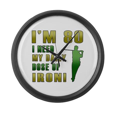 80th Birthday Golf Humor Large Wall Clock
