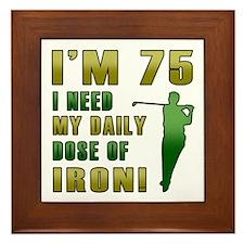 75th Birthday Golf Humor Framed Tile