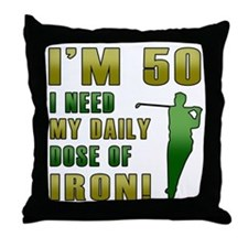 50th Birthday Golf Humor Throw Pillow