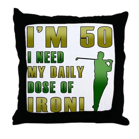 50th Birthday Golf Humor Throw Pillow