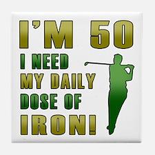 50th Birthday Golf Humor Tile Coaster