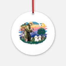 St Francis #2/ Bichon (2) Ornament (Round)