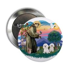 "St Francis #2/ Bichon (2) 2.25"" Button"