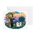 St Francis #2/ Bichon (2) Greeting Cards (Pk of 10